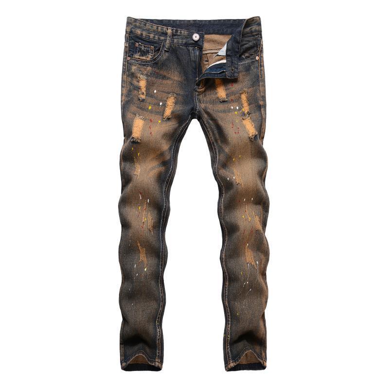 2020 Origen Marca de diseño Vintage estilo Denim lavar los pantalones vaqueros de los hombres pantalones vaqueros rasgados con el chapoteo del punto Decoración