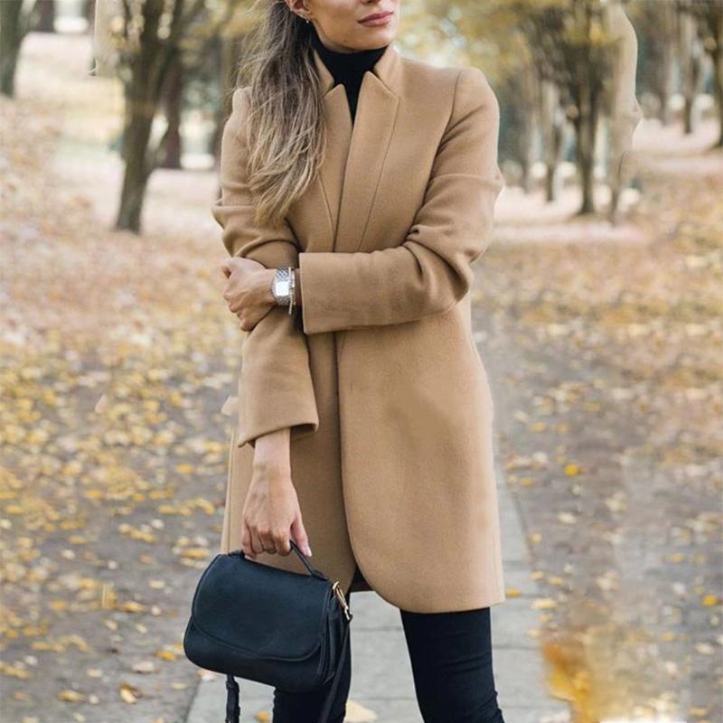 Дамы Тренч Длинные Топы Slim Fit Outwear Элегантная мода зима теплая Корзина Женщины Шерсть Coat Solid Открытый стенд воротник офис