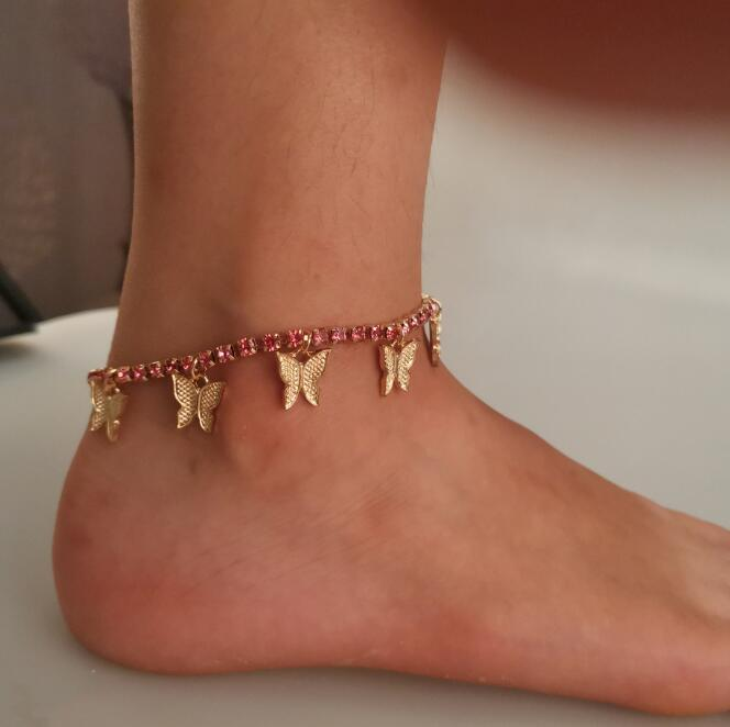 Gioielli Catena Beach ghiacciato fuori la catena dei calzini farfalla Infinity caviglia del calzino Braccialetto di cristallo del piede dei calzini di modo delle donne a piedi nudi