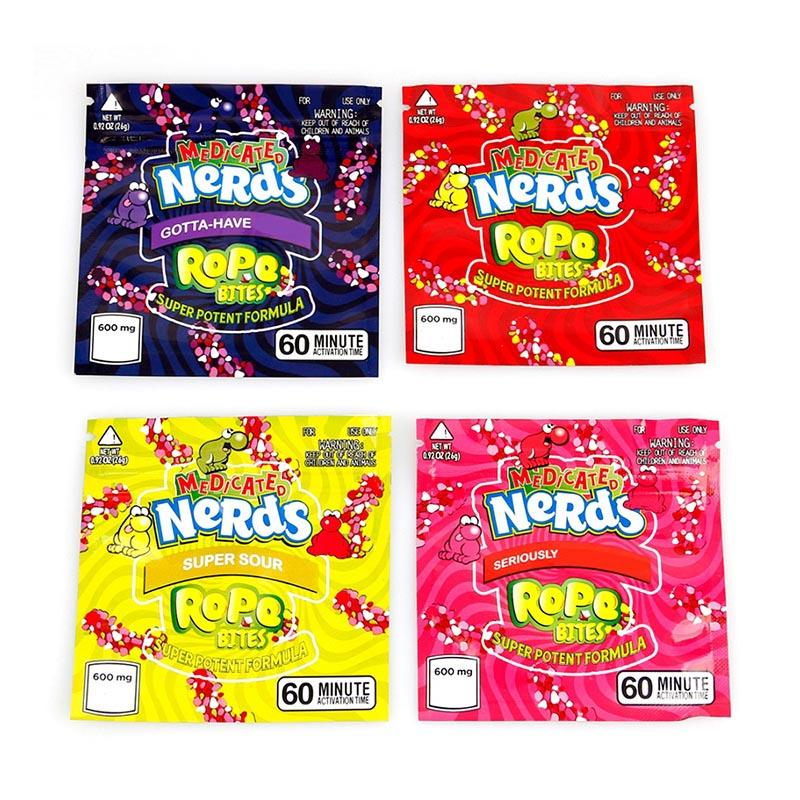 Square MEDICATED Nerds Rope Bites Packaging Bag Nerdsrope Empty Gummy Mylar Bags Food Packages For Dry Herb Tobacco Flower In Stock