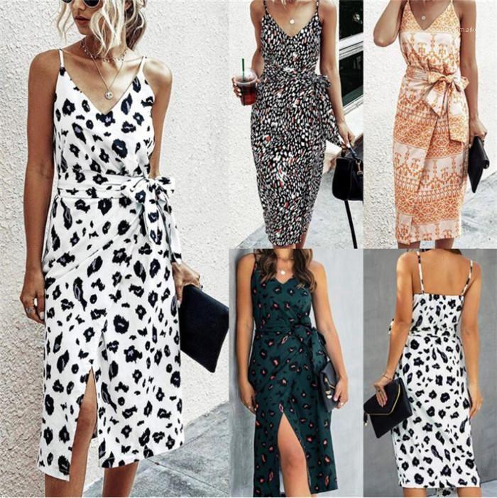 Alça Imprimir Verão Casual Vestidos Famale Moda Cós Roupa Mulheres V Neck Magro vestido ajustável