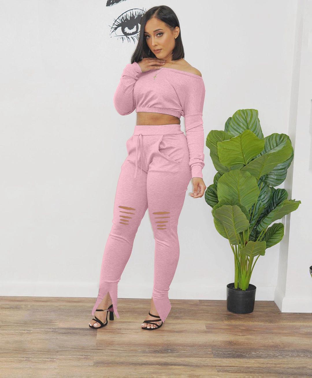 Slash Neck Trou Femmes Robes d'été Skinny solide Color Split Women Dress Designer Casual Slim Deux Piece Pantalons