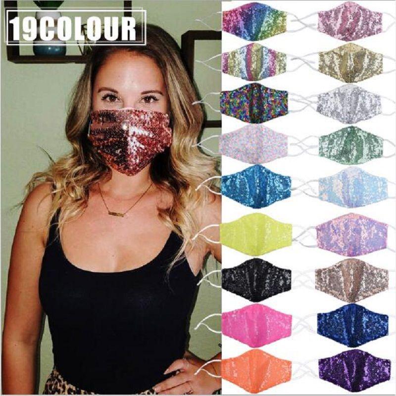 Moda Bling 3D Yıkanabilir Tekrar Kullanılabilir Maske Yüz Bakımı Altın Dirsek Pullarda Parlak Yüz Kapak Dağı Tasarımcı Maskeler 19colors