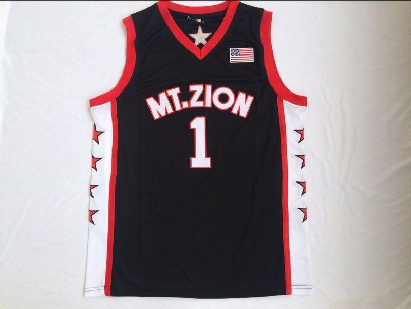 NCAA Berg Zion Christian College Tracy McGrady 1 Jersey High school Schwarz Rot Mens Basketball Jerseys genähtes