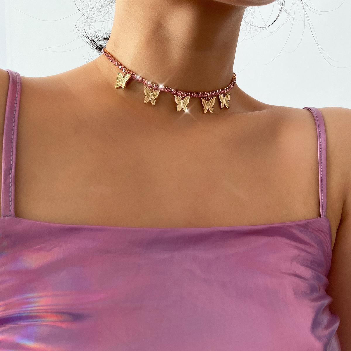 Collana a forma di farfalla carina con Colorful Collana girocollo a catena di collegamento con strass per le donne Charms gioielli festa