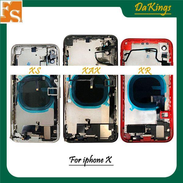 20 قطع آيفون x 8 زائد 8p xr xs xs ماكس الظهر الإطار الأوسط الهيكل الإسكان الكامل + أجزاء كاملة التجميع الزجاج غطاء البطارية الباب الحرة dhl