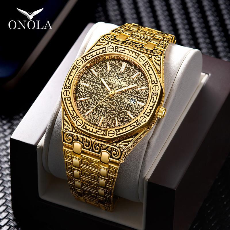 erkekler için moda saati erkek Marka ONOLA 2020 yeni lüks klasik tasarımcı paslanmaz çelik bant altın saat reloj hombre CX200803