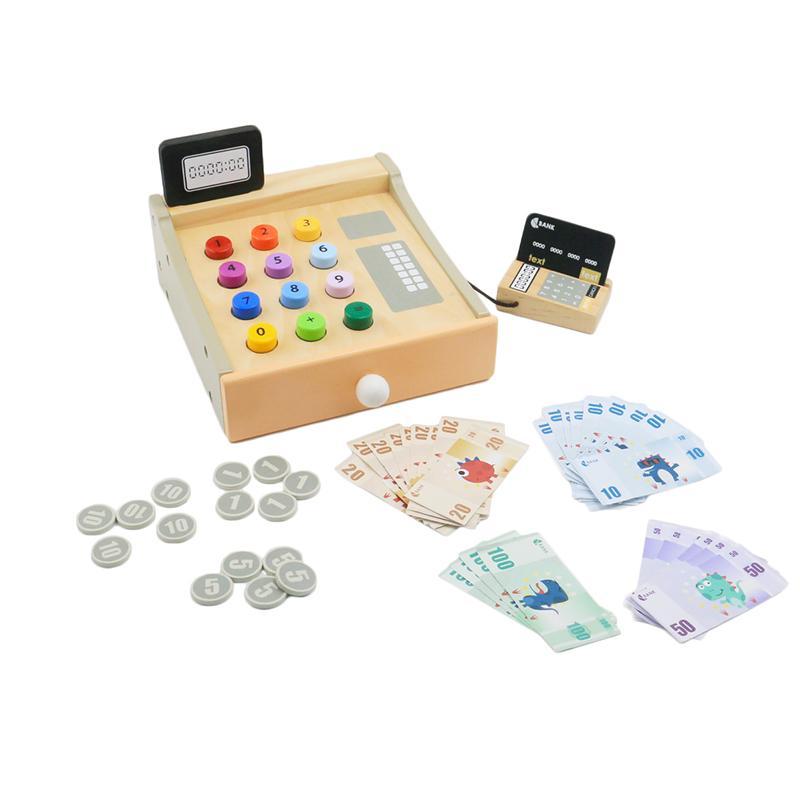 الخشب لعب اطفال ورضيع تسجيل النقدية للأطفال والأطفال تسجيل النقدية بما في ذلك 30PCS ثانوي ورقة 15PCS النقدية العملات 1PCS بطاقة مصرفية