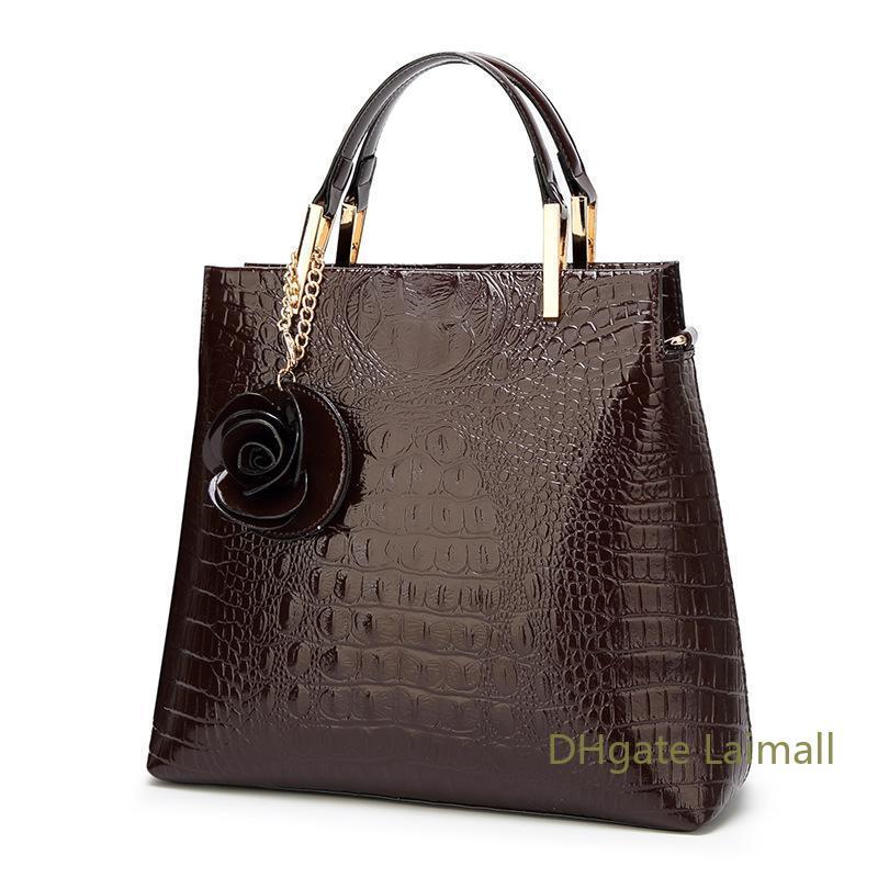 Patent Deri bayan çantası Lüks Tasarımcı Çanta Bayan Omuz Messenger Çanta Çanta Kadın Bez Çanta