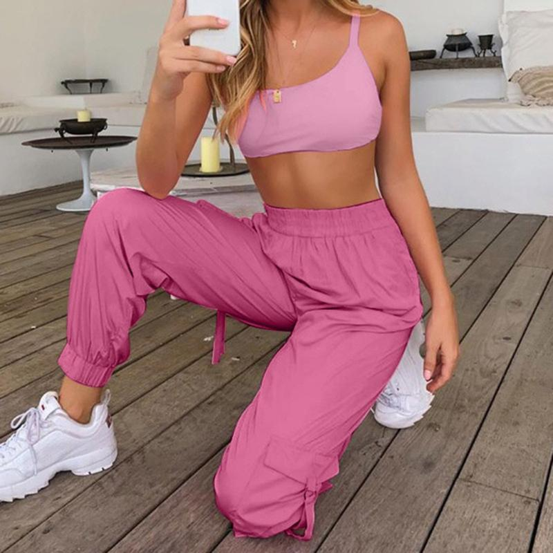Gym Clothing Women Tracksuit Two Piece Set Ladies Casual Sports Suit Sleeveless Crop Top And Long Pants Summer Sportwear #4