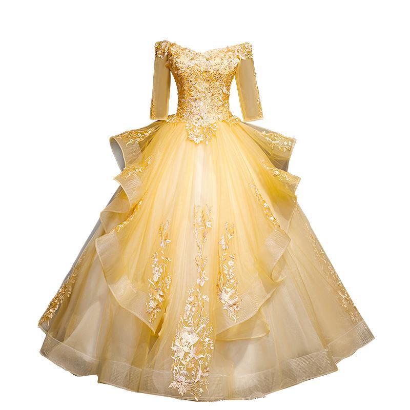 Goldene Perlenstickerei Ballkleid Opera Fairy Bühne Mittelalterliches Kleid Renaissance Cosplay Victoria Antoinette / Belle