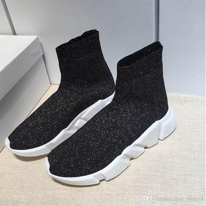 Top Quality calzino del pattino Speed Trainer esecuzione scarpe da ginnastica Speed Trainer calzino corridori corsa scarpe nere uomini e donne scarpe sportive 35-44 F69