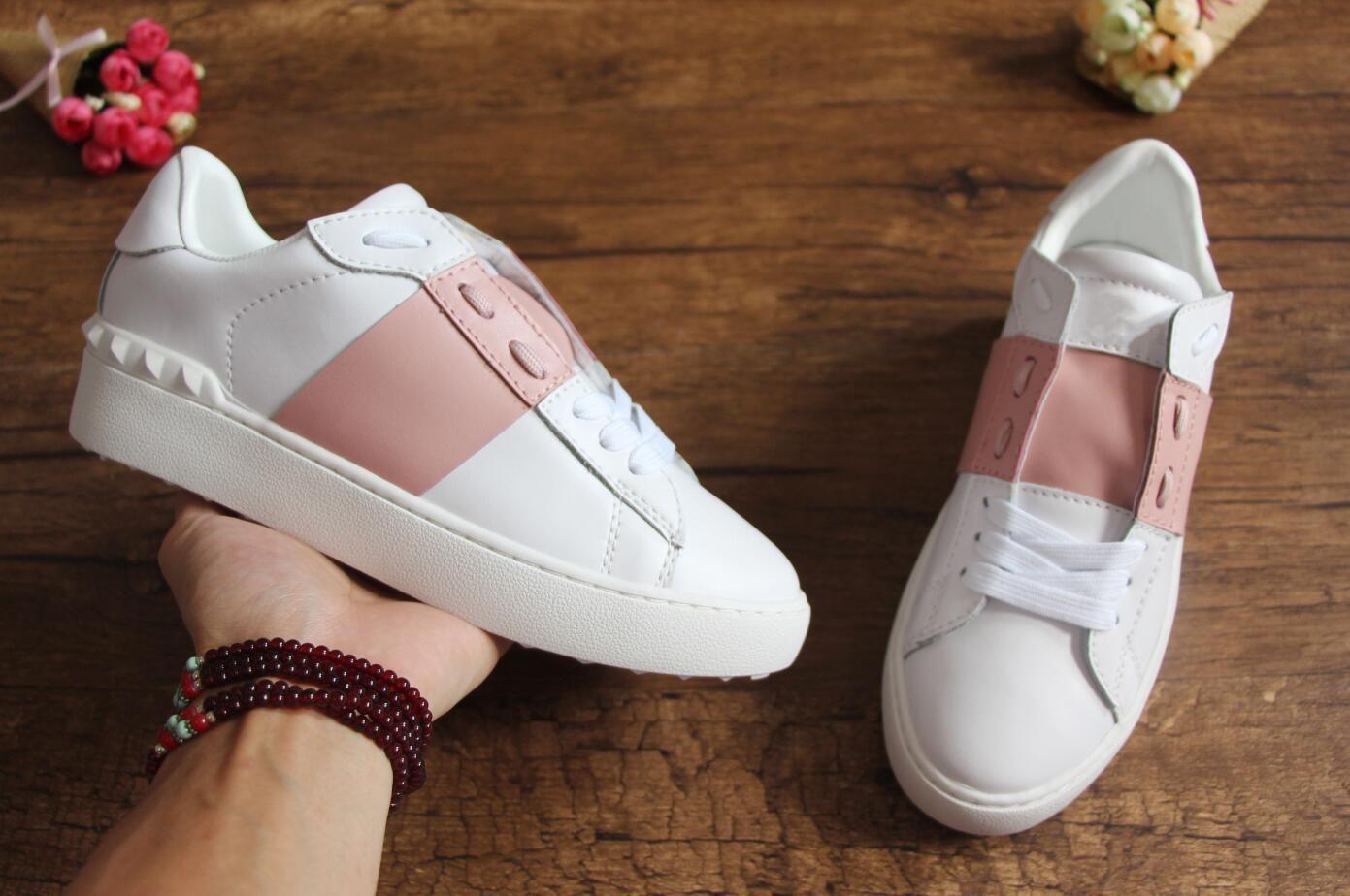 diseñador barato al por mayor mujeres de los hombres de lujo de las zapatillas de deporte zapatos abiertos con tamaño de calidad superior 9 colores caja original 34-46 para la venta A25
