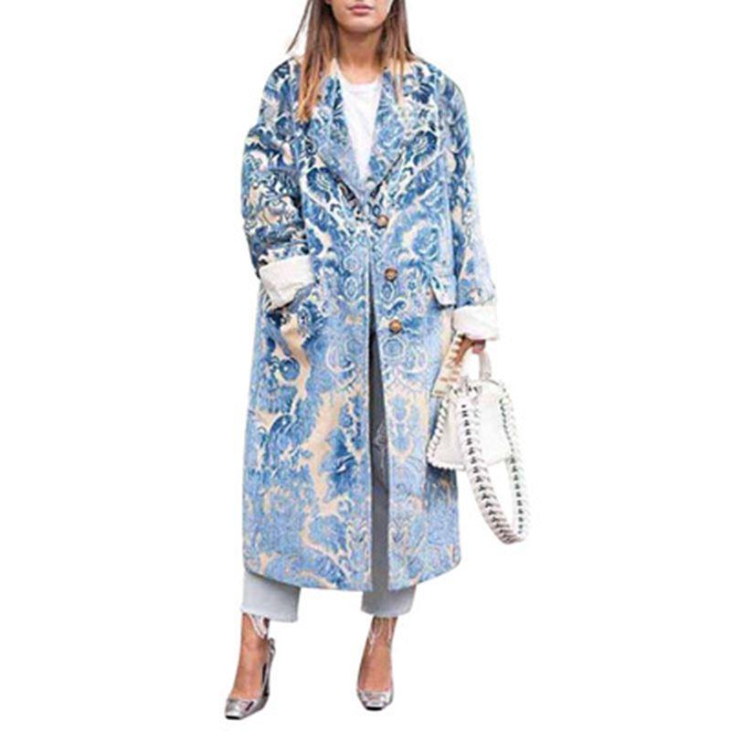 Cappotto Donne lungo Cappotto coreano più le donne rivestimento caldo del Capo lungo spesso Poncho Stampato a maniche lunghe