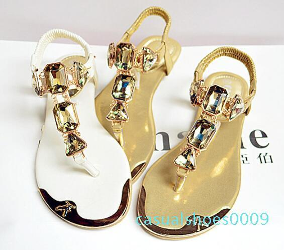 Summer womens sandals rhinestones rear wristbands with toe herringbone low to help flat shoes metalhead 938-1 09c