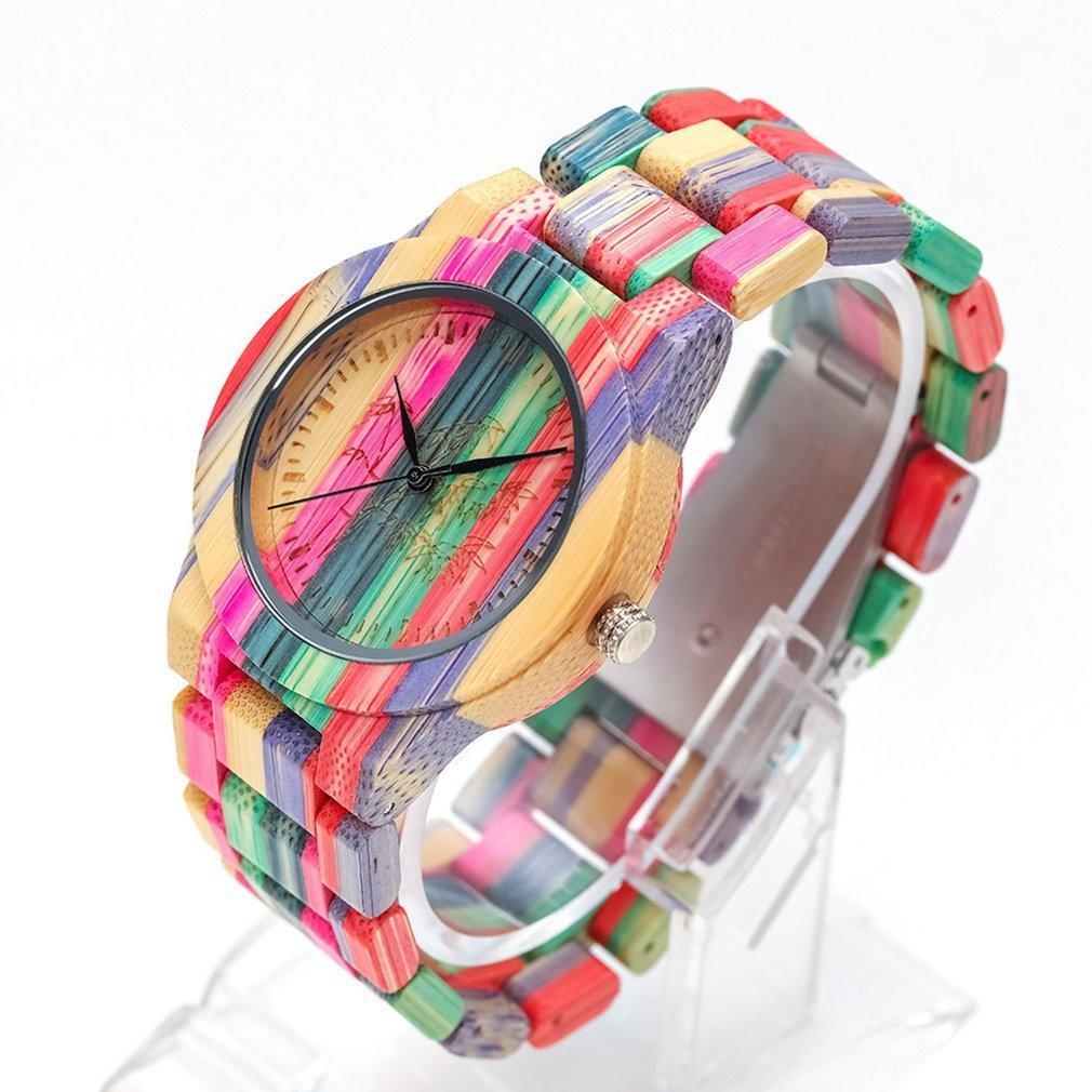 Moda Çevre Koruma Doğal Ekolojik Karbonlaşmış Renk Bambu Ahşap İzle Basit Kuvars İzle CX200723