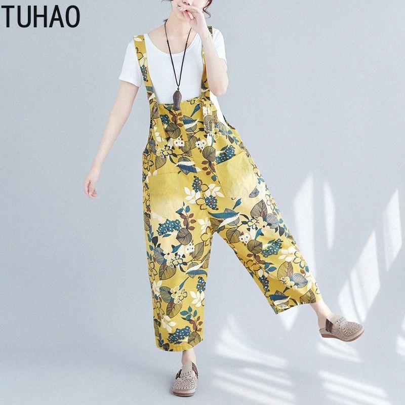 TUHAO 2020 Baggy Denim Macacões Feminino Além disso Vintage tamanho de impressão calças de vaqueiro Bib Harem macacãozinho Harajuku queda Crotch Jeans JBN cHZu #