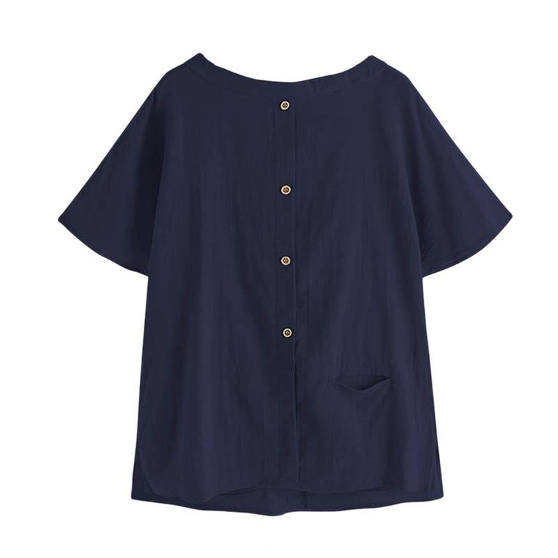 Las mujeres de la vendimia de lino de algodón de la blusa del verano ponen en cortocircuito las camisas ocasionales botones Bolsillos remiendo flojo camisas más tapa del tamaño oscuro Bl