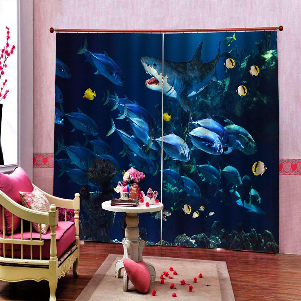 Benutzerdefinierte Blackout 3D Vorhang Unterwasserwelt für Wohnzimmer, Schlafzimmer, Fenster Vorhänge Innendekor-2 Panels mit Haken