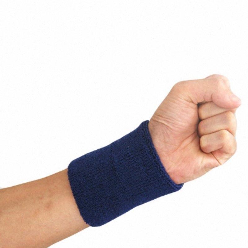 Hot 1 pc Wristband coton 10x8x1cm le sport Bracelets sweatband band main pour la gymnastique de volley-ball de tennis garde support de poignet de sueur chaude ASLV #