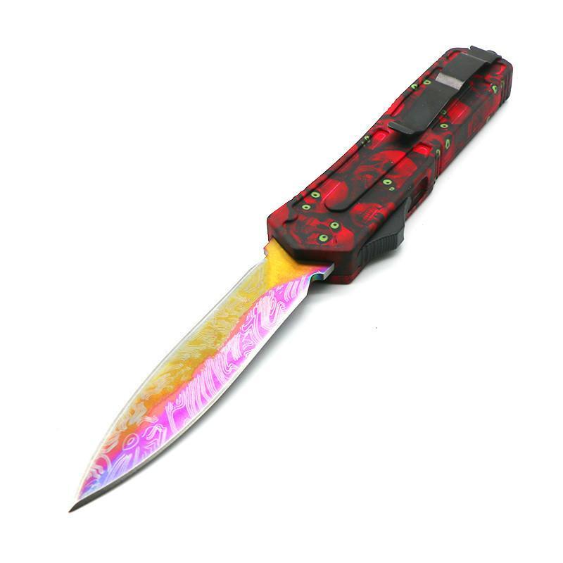 escaravelho caveira vermelha punho 9 modelos lâmina de dupla acção acampamento tático caça dobrar facas xmas faca presente