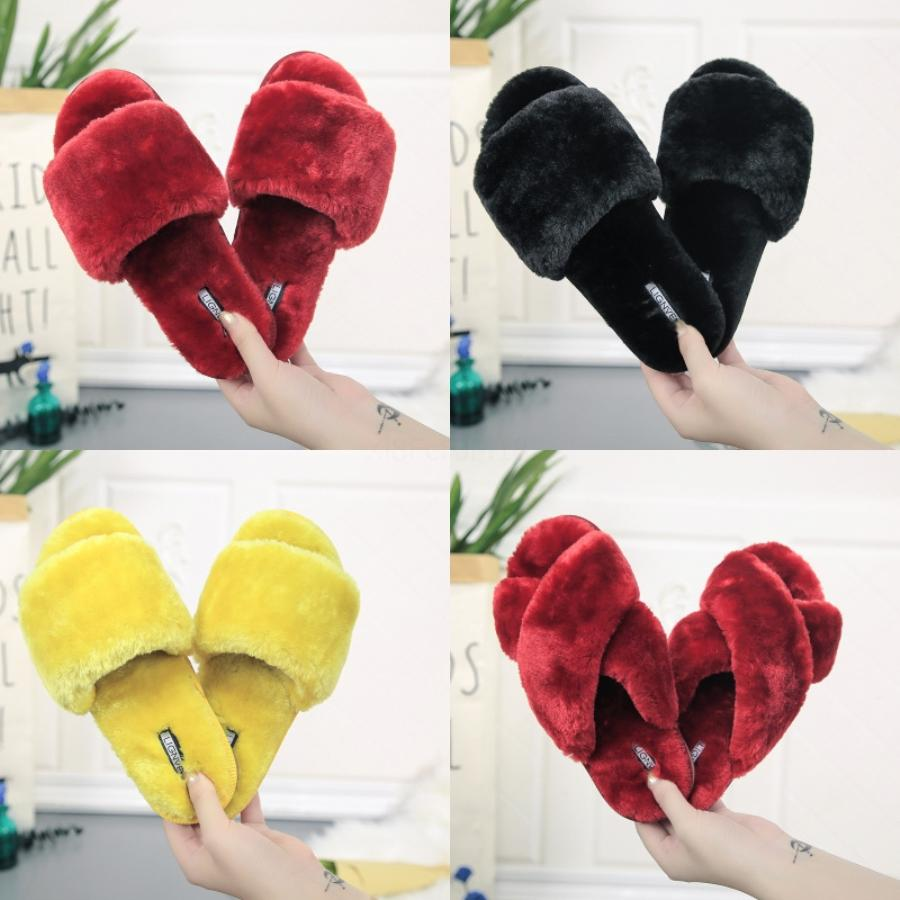 Hot Sale- Suede Rivets Strap Block Heel Shoes Slippers Women Designer Slides Sandals Size 35 To 40 T77#998