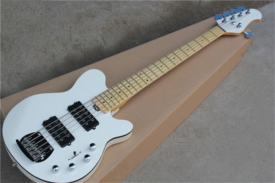 ücretsiz kargo müzik m 5 dize bas, ışın beyaz bas gitar, pil takımını, akçaağaç klavyeli 22 fret, HH manyetikler, siyah bağlayıcı acı