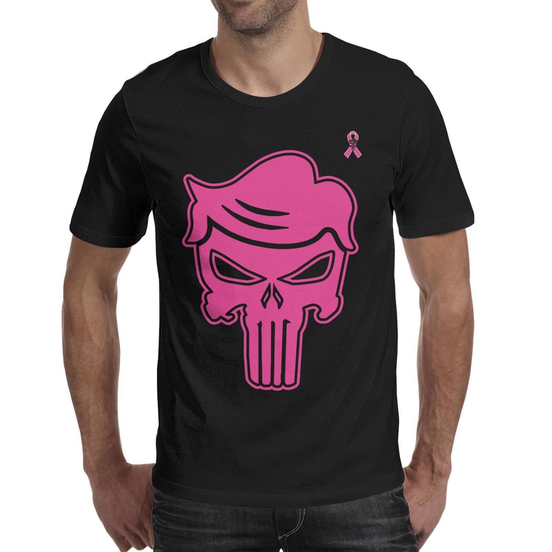 Mens Fashion cabelo trunfo punidor logotipo do crânio preto shirt do pescoço t Retro Printing camisas Trump Punisher-de-rosa cancro da mama não