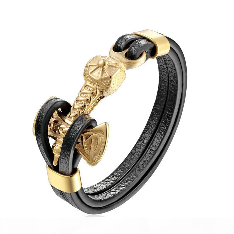 U Whole Salemkendn New Mens Bracelets Gold Leo Lion Stainless Steel Anchor Shackles Black Leather Bracelet Men Wristband Fashion Jewelr