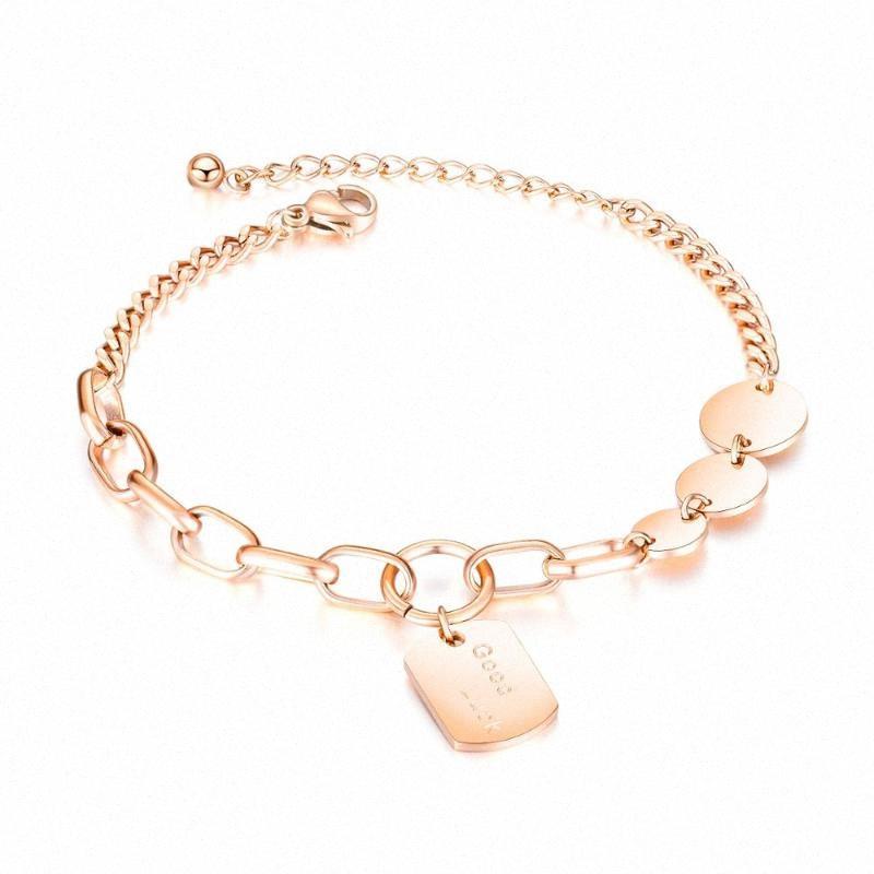 n1057 Girlfriend cadeaux femmes design de mode en or rose en acier inoxydable Tag ronde charme d'étiquette de chien bracelet chaîne Bracelet 7,87 OYja #