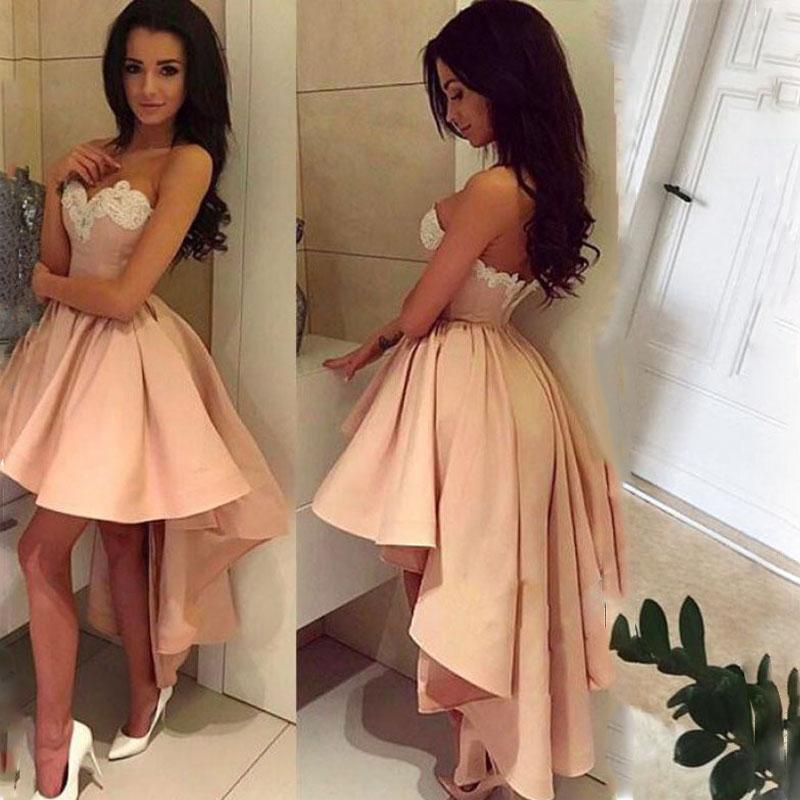 Son Tasarımlar Yüksek Düşük Sevgiliye Homecoming Elbiseler 2020 Aplikler Saten Kokteyl Elbise Artı Boyutu Balo Elbise Vestido de Festa