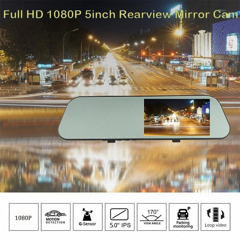 H15 Ultra HD macchina fotografica dell'automobile DVR flusso specchio di retrovisione di 5 '' IPS 1080P Unità Video Auto Recorder Registrator 7EZL #