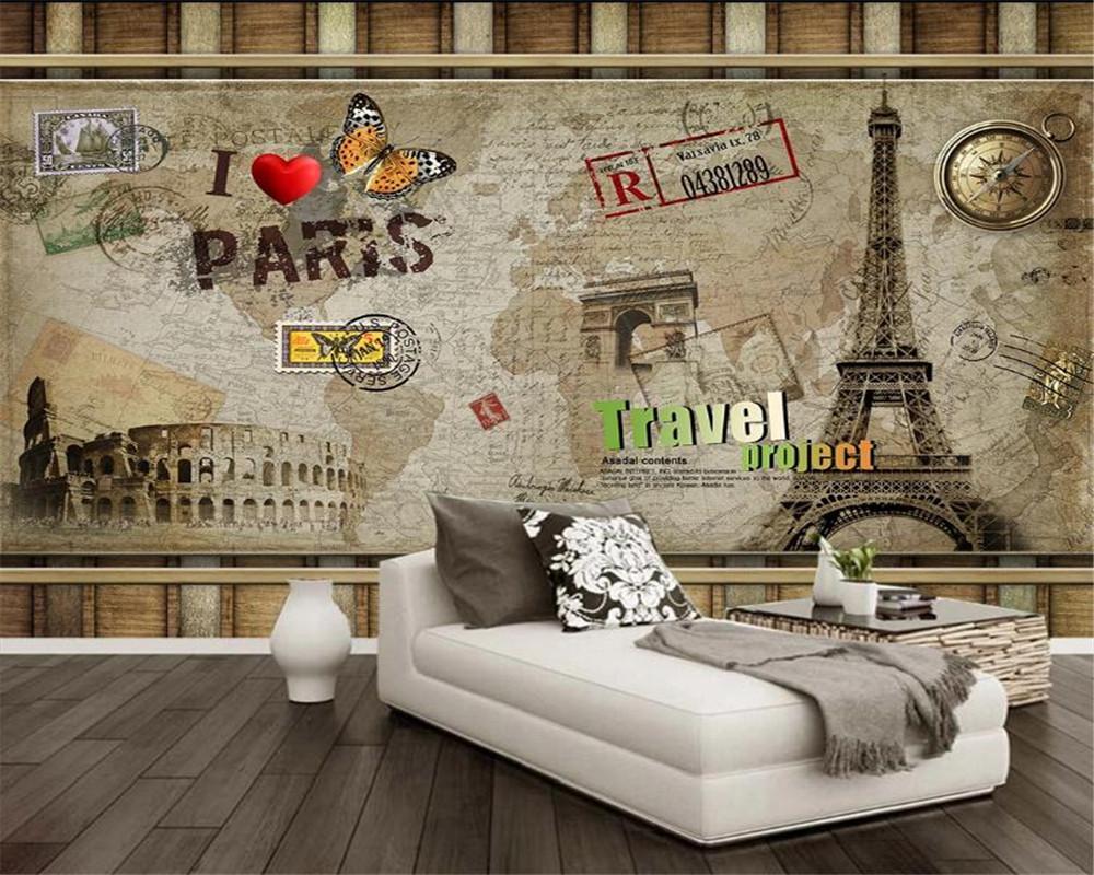 3d duvar kağıdı Duvarlar Basit Retro Paris Eyfel Kulesi Arkaplan Duvar Romantik Manzara Dekoratif İpek Duvar Duvar Kağıdı