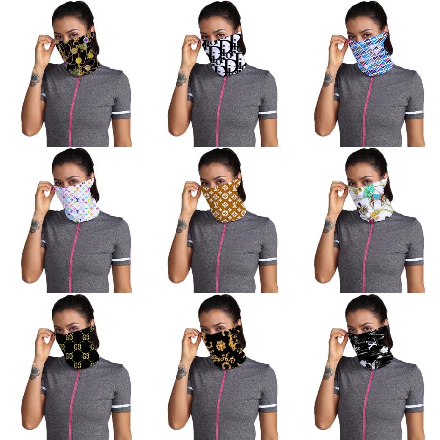Designer Stampato Cotone Donne faccia sciarpa magica Maschera 14 stili chiffon Fazzoletto antivento esterna di fronte mezzo antipolvere Parasole Ma # 860 # 404