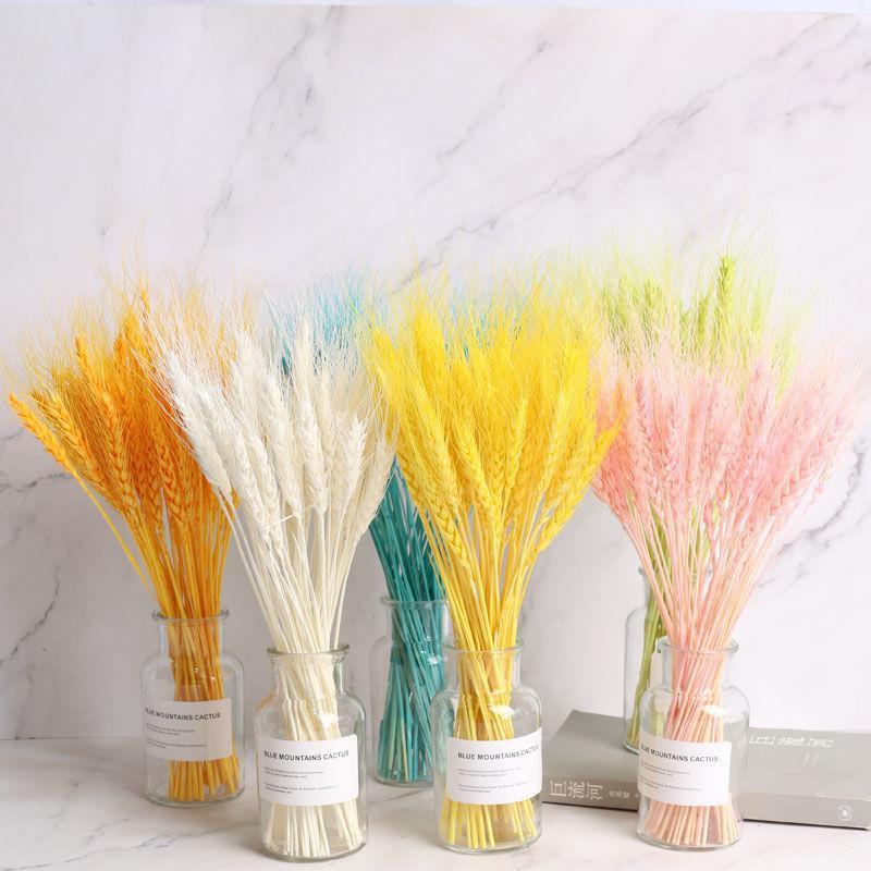 Marchwind 50pcs / lot secas naturales Orejas harina de trigo ramo de flores para la fiesta de boda de la decoración DIY Craft Decoración del libro de recuerdos de trigo Branch Puntales