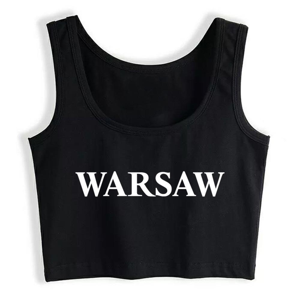 Crop Top Mujer Varsovia sin mangas de la vendimia divertido Tops Mujeres