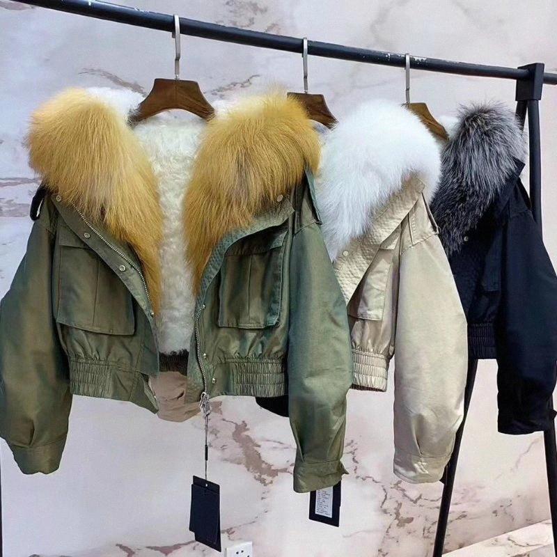 Marka 2020 Yeni Moda Gerçek Kürk Kısa Parka Kabanlar Kış Ceket Kadınlar Natürel Yaka Yün Liner Coat Streetwear I89S #