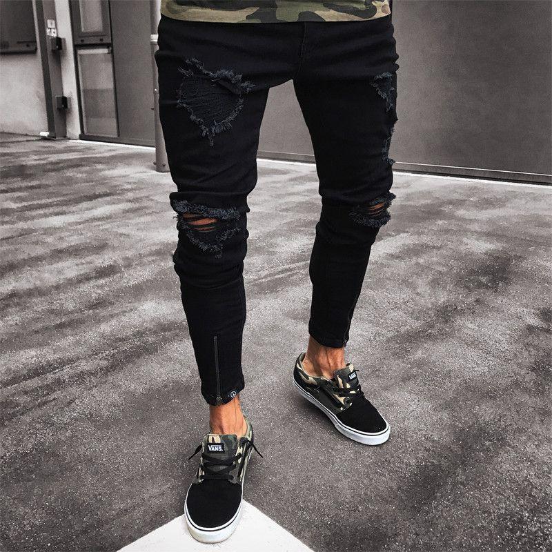 Mens kühlen Designer-Marken-Schwarz Jeans dünne zerrissene Zerstörte Stretch Slim Fit Hop Hop Hose mit Löchern für Männer
