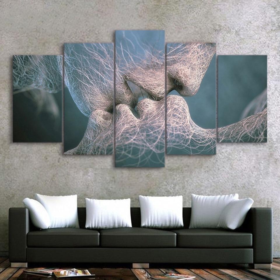 5 paneles lona grande arte pintura al óleo kissing impresiones del cartel del arte abstracto modular de pared Imágenes de la sala de estar Cuadros Decoración