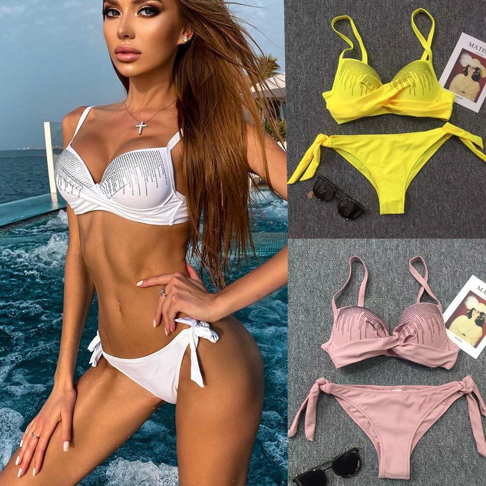 Bikini Designer Купальники Купальники Купальники Купальники Купальники с твердой сексуальной стальной верхней белой желтой розовой