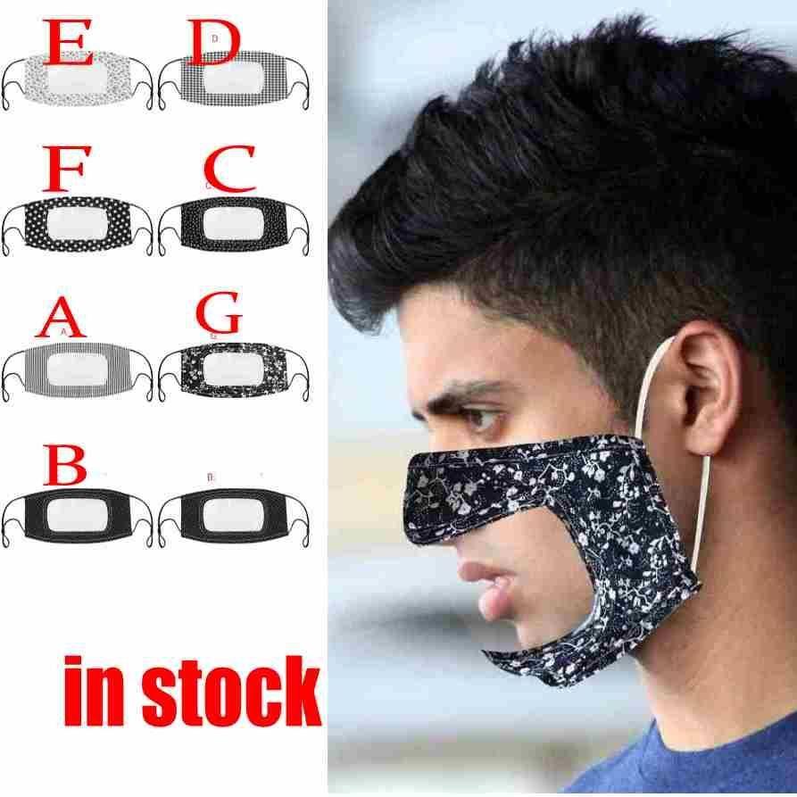 US-Tuch Baumwolle gedruckt Unisex Adult Mund Gesichtsmaske mit Sichtfenster sichtbar Deaf Mute Masken windundurchlässiges Staubdichtes Waschbar Wiederverwendbare FY9151