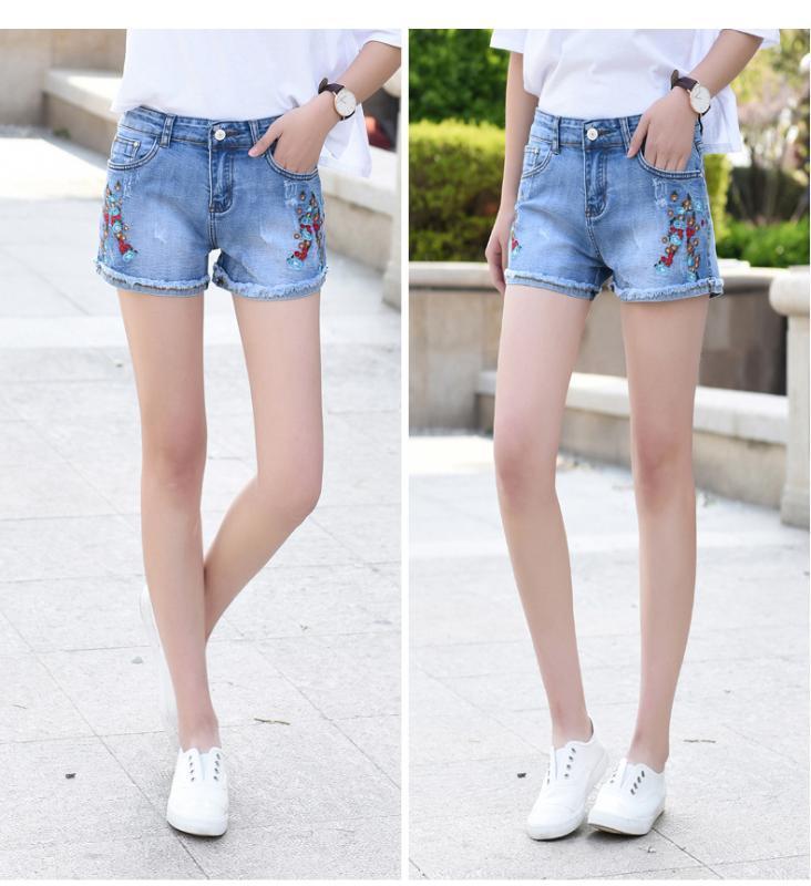 2020 новые женские джинсы шорты невысокое стрейч тонкие вышитые цветы джинсовые шорты