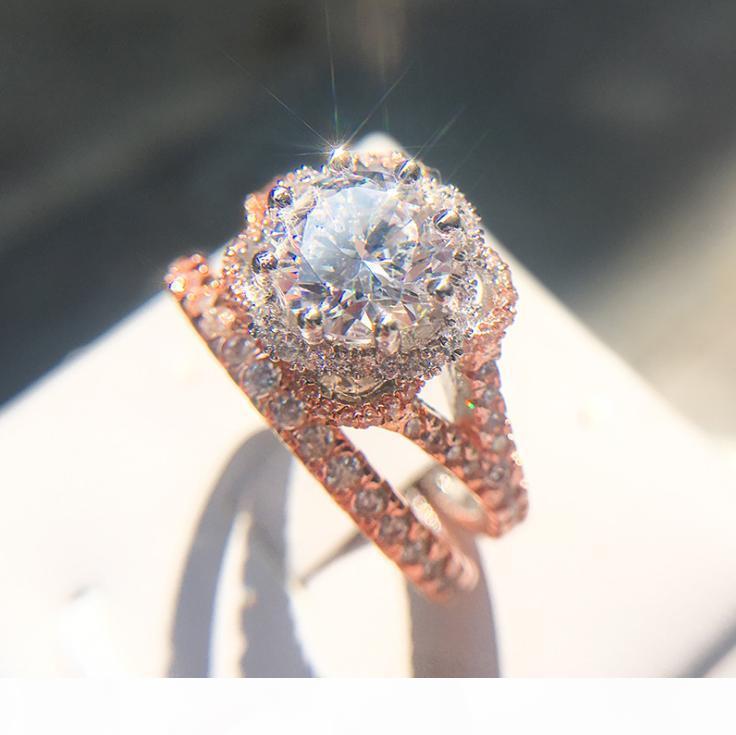 F Moda vendimia de la joyería 925 de llenado de plata esterlina de oro rosa corte redondo Topaz blanco diamante de la CZ anillos par Eternidad mujeres novia Brid