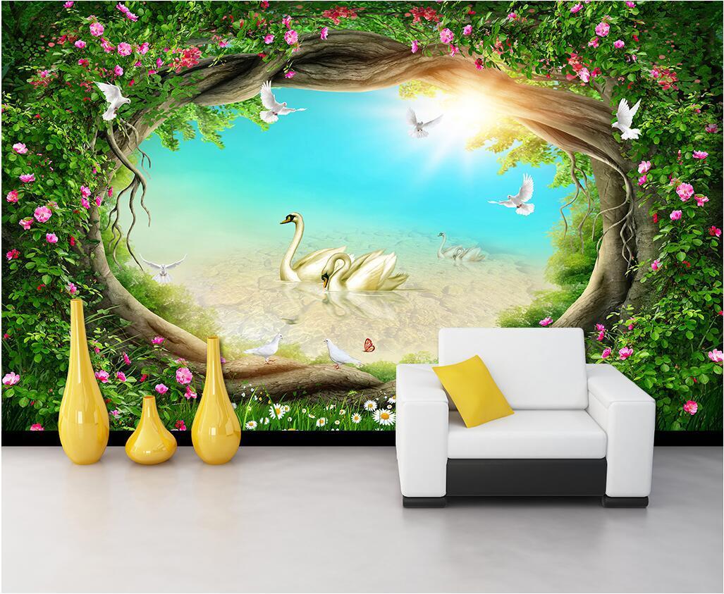 3d обоев на заказ фото Фантазия сказочного лес леса сад цветок виноград трава ТВ фона декор 3d стены фрески обои для стен 3 д