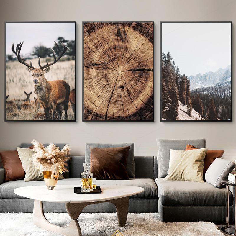 Dağ Manzarası Hayvan Geyik Resim Doğa Ahşap Büyüme Halka İskandinav Poster Nordic Wall Art Canvas Ev Dekorasyonu Boyama