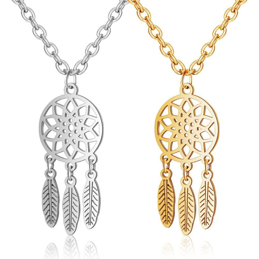 Новый модный стиль Dreamcatcher нержавеющей стали Подвеска Mandala лотоса ожерелье Yoga перо ожерелье ювелирные изделия камень кулон