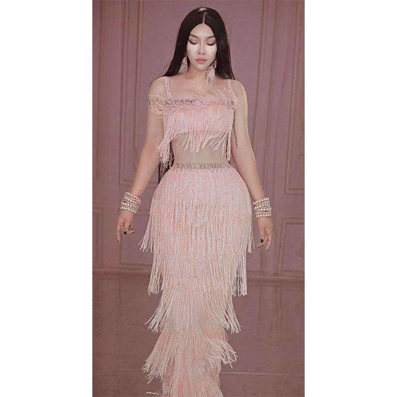 Robe longue rose Fringe strass Spandex anniversaire Célébrez Soirée robe de bal Outfit Bar Femmes Danse Chanteur Afficher