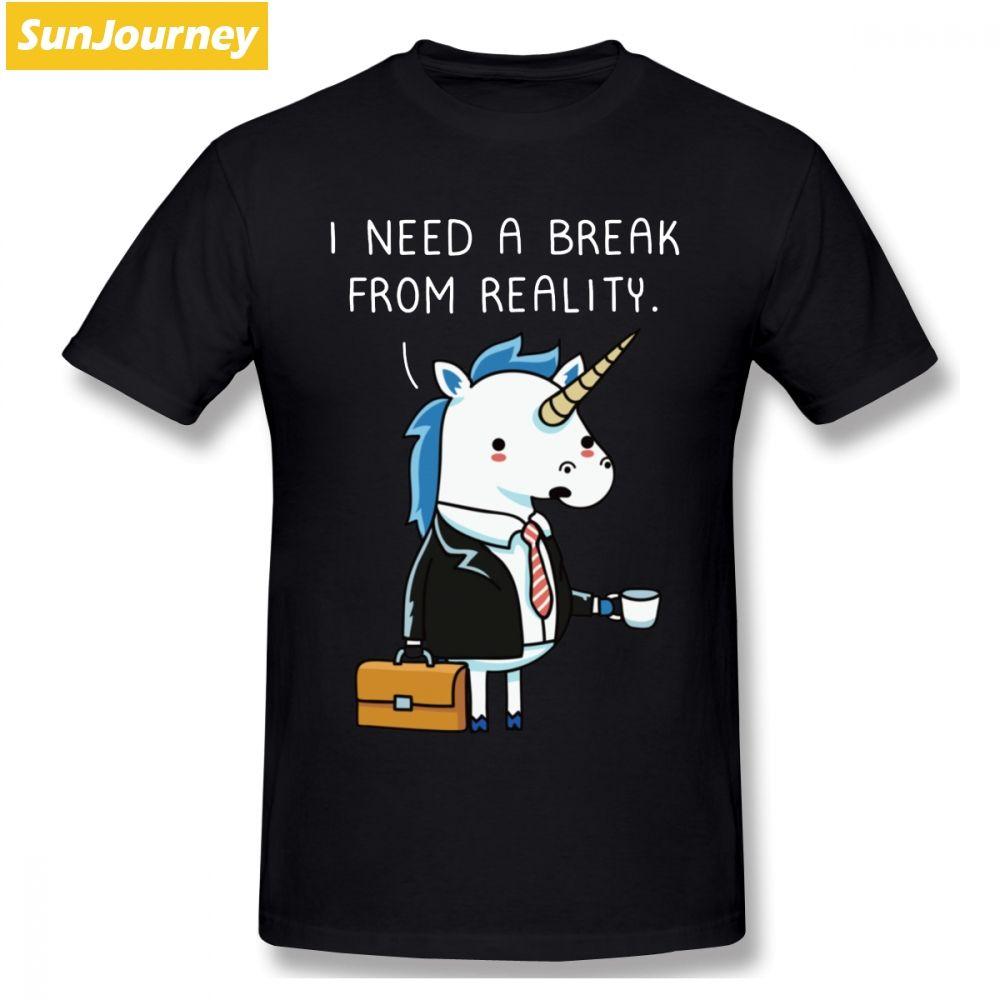 Unicornio de la fantasía que necesito un descanso divertido camiseta de los hombres de moda novio 4XL 5XL 5XL O-cuello de algodón de manga corta camisetas divertidas