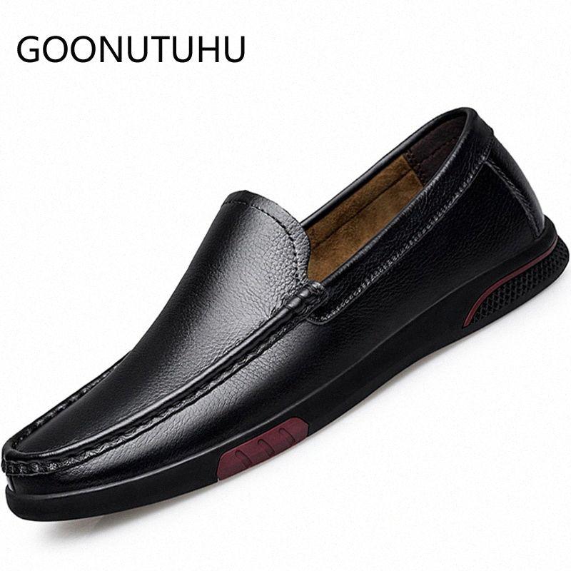 2019 neue Mens-Schuh-beiläufige echtes Leder Kuh Loafers Male Classic Black Beleg auf Schuh Mann Wohnung Driving Schuhe für Männer Hot Sale Munro S PSLV #