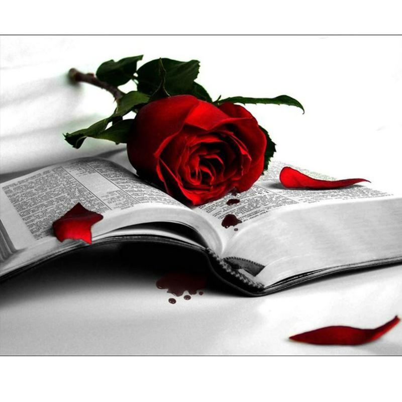 Broca Rose Red Book completa 5D diamante redondo Rhinestone Bordados Pintura DIY Cross Stitch Kit Mosaic Desenhe Home Decor Craft